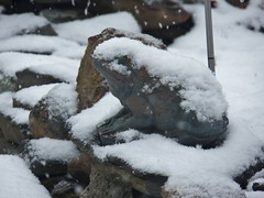 not my idea of Spring... (MissyPenny) Tags: snow spring frog rockgarden southeasternpa bristolpennsylvania