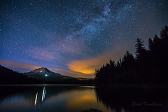 Shooting stars over Mt Hood (Brook Terwilliger) Tags: longexposure reflection night oregon stars mthood brook starry milkyway trilliumlake terwilliger