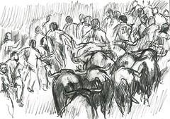 8 ENCIERRO - TOROS DE MIURA- AMEDIO CAMINO- 14-7-16 (GARGABLE) Tags: sketch gente drawings toros 4b apuntes miura lpiz sanfermin estafeta gargable angelbeltrn 8encierro