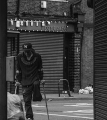 Sunday morning stroll (At the Speed of Life) Tags: life street city people urban blackandwhite male london monochrome humanity outdoor candid streetphotography journey hardtimes longlens streetcapture