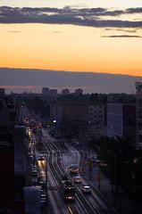Evening street (k.tusnio) Tags: street city sunset rooftop skyline evening town nikon 85mm tram poland polska hdr trafic pozna poznan ulica dabrowskiego d5100 igerspoznan