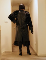 Empowerment of Leather (5) (Furre Ausse) Tags: black leather skirt boots gloves dominant maitresse mistress domina full length coat long fur