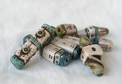 ivory, blue, and green beads set (SelenaAnne) Tags: polymerclay polyclay sculpey cernit fimo handmade bead