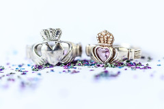 Claddagh. (EireanClaire) Tags: claddagh heart crown rings macro tabletopphotography love jewelry couple pair