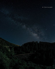 Milky Way at the Cloudcroft Trestle (jamesclinich) Tags: trestle trees sky newmexico detail abandoned stars availablelight tripod clarity olympus fisheye nighttime paintshoppro nm railroads omd topaz corel cloudcroft milkyway adjust 75mm em10 samyang denoise jamesclinich
