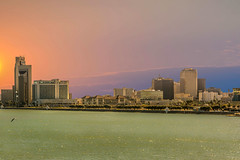 Corpus Christi Skyline (Jims_photos) Tags: ocean gulfofmexico water outside morninglight downtown texas adobephotoshop outdoor nopeople daytime lightroom jimallen adobelightroom texascoast nikon7100