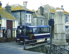 Slide 066-70 a (Steve Guess) Tags: bluecream bus mousehole newlyn cornwall penzance england gb uk krl444w harvey bristol lh lhs wadham stringer vanguard