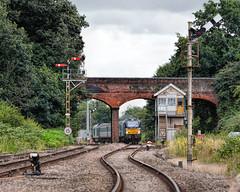 Reedham Junction (whosoever2) Tags: uk greatbritain railroad england train nikon track unitedkingdom box norfolk july railway east gb signal semaphore anglia broads 2016 drs reedham 68016 68023 d7100 class68