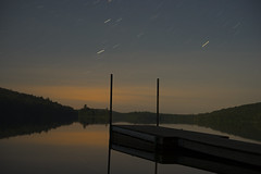 Midnight Long Expo (K McGuckin) Tags: sunset lake mountains nature colors beautiful stars 50mm amazing dock long exposure pano sony wide adirondacks alpha northernlights a7ii