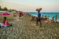 Followed by the simiti (Melissa Maples) Tags: cameraphone sea summer food man david beach apple water turkey asia mediterranean trkiye antalya vendor turk iphone simit  simiti iphone6 konyaaltbeach