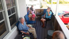 On The Cottage Porch (Joe Shlabotnik) Tags: carolina higginsbeach july2016 nancy phyllis cameraphone 2016 verne galaxys5 margaret annm maine