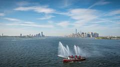 New York Send-off (duncan_mclean) Tags: cruiseship cruise ship queenmary2 beautiful oceanliner john j harvey salute fireboat city cityscape southampton boats qm2 cunard johnjharvey