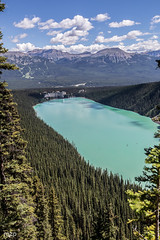 Lake Louise, from Lake Agnes Trail (mzagerp) Tags: road trip usa canada rockies rocheuses etats unis mzagerp banff national park lake louise moraine lac emerald meraude plain six glaciers columbia icefield glacier