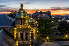 Victoria Sunset (Paul Rioux) Tags: britishcolumbia bc vancouverisland victoria legislature old historic classic building architecture coppr domes lights roofs slate tiles sunset dusk evening clouds