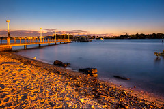 Riverside Sunset (satochappy) Tags: sunset landscape evening golden putney sydney nsw australia blue    jetty wharf ferrywharf seagull