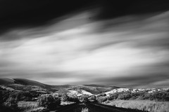 An Hour, Nowhere (D.I. Hammonds) Tags: dyfi junction aberdyfi wales cymru machynlleth rural scenic remote platform train rail railway network welsh arriva ceredigion powys gwynedd dovey sky cloud clouds clear sun sunny day daytime long exposure shutter speed landscape landscapes mountain mountains hills hill infra red infrared ir hoya r72 filter nd neutral density canon eos 1200d sir mono chrome monochrome black white bw high contrast 24mm 6 minute six f22 f 22 aperture
