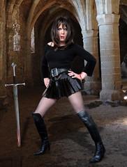 Warrior princess (Irene Nyman) Tags: warrior princess dragon dungeon castle sword black boots brunette tgirl crossdresser irene nyman