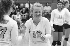 IMG_5517-02 (SJH Foto) Tags: girls volleyball high school lancaster mennonite pa pennsylvania team tween teen teenager varsity substitution sub rotation candid happy laughing giggling black white blackandwhite bw monocolour