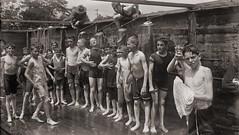 Boys camp shower at Peekskill NY, July 16, 1917  LOC 24913u (SSAVE w/ over 6 MILLION views THX) Tags: ww1 wwi worldwari 1917 peekskillny boysmilitarycamp militarytraining boyscamp shower showering swimsuits