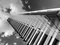 Frankfurt (tholiefot) Tags: black white frankfurt am main bw db architecture light skyscraper monochrome weitwinkel wide angel deutschland ffm de einfarbig financial district hochhaus clouds wolken architektur olympus 12mm