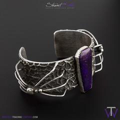 Halloween Spider Bracelet (Winfield Trading) Tags: navajo zuni hopi bracelet jewelry native american indian art crafts sterling silver halloween spider tufa cast coffin stone sugilite purple
