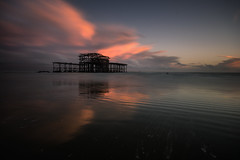 West Pier (Tractorboy1981) Tags: west pier brighton sea long exposure vivid widangle tide clouds beach sussex uk reflection