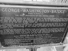 George Washington Bridge Dedication Plaque, Fort Lee, New Jersey (jag9889) Tags: washingtonheights usa manhattan 20161015 newyork outdoor 2016 plaque memorial bergencounty bridge cable suspensionbridge tower newyorkcity georgewashingtonbridge fortlee jag9889 bw waterway hudsonriver newjersey 07024 blackandwhite bridges bruecke brcke crossing gw gwb gardenstate infrastructure k007 monochrome nj ny nyc pont ponte puente punt river span structure unitedstates unitedstatesofamerica wahi water zip07024 us dedication