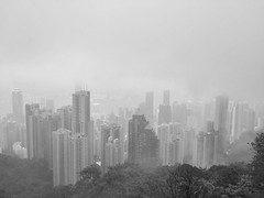 Misty Hong Kong (Victoria Peak) (Tom Diggelmann) Tags: peak city cityscape storm clouds haze mist victoriapeak victoria blackandwhite bw hongkong hk