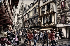 Modern times in old cities (Fr@nk//) Tags: street city girls people woman man france boys canon women brittany europe cartoon cities bretagne breizh dickens moderntimes quimper frnk eos6d