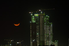 Moon (engine9.ru) Tags: city red sky moon night buildings strawberry low ngc uae abudhabi abu dhabi skyscrapper koyaanisqatsi