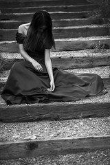 45/365 - Broken Valentine (Joshua Nistas) Tags: blackandwhite bw white black broken beauty fashion stairs blackwhite nikon dress heart puppet steps 85mm valentine ballroom gown nikkor valentinesday d800 heartbroken stringless heartless cutstrings