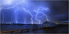 Blue shed bolts (beninfreo) Tags: blue canon boat shed australia perth western lightning stacked crawley perthstorm australianstorms 5d3