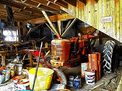 Old bank barn workshop (SteveMather) Tags: ohio red orange usa tractor colors yellow barn colorful artistic farm cleveland workshop comicbook oh northeast bold 4s iphone 2015 medinacounty farmallsuperh anthropics smartphotoeditor