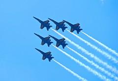 Diagonal Blue Monday! (ineedathis, the older I get, the more fun I have!) Tags: blue sky newyork flying military smoke jets airplanes navy longisland airshow f hornet heroes 18 blueangels jonesbeach memorialday nikond80