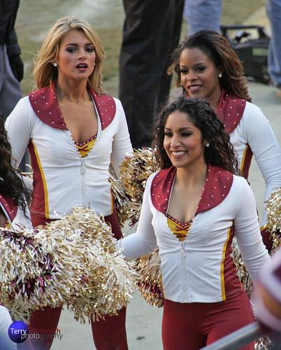 Redskinette Cheerleaders Kirsten, London, and Priscilla.