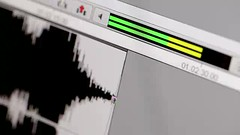 Ending of the music track. (greycoastmedia) Tags: music chart motion black macro film analog movie grid video focus soft technology close display background wave peak graph stereo level diagram sound finish end record timeline production editing avid curve pulse electronic decibel audio filmmaking postproduction edit graphing oscilloscope ending measuring finishing vibration waveform footage finalcut magnitude frequency amplitude shallowdof oscillograph stockvideo greycoastmedia