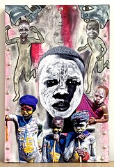 the ghost boy (jenniferbeinhacker.com) Tags: trip travel blue boy red woman holiday man black men boys sunglasses yellow collage silver mouth painting children carpet grey three women rawart folkart outsiderart child faces eating stamps assemblage mixedmedia contemporaryart modernart surrealism teeth ghost running haunted photographs selftaught expressionism omovalley bodypainting artbrut scared ethiopia deviantart tacks acrylicpaint naiveart eastafrica visionaryart devouring primitiveart paintedfaces naifart artonwood metallicpaint watercolorpaint facestamp xeroxpaper posingforaphotograph jenniferbeinhackercom artbasedontravel