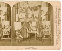 Ironing Day- vintage stereoscope card (Rescued by Rover) Tags: girls sepia vintage children toys dolls victorian domestic card laundry washing edwardian ironing stereoscope underwood