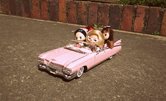Riding with the girls (Freakysita) Tags: ford car vintage doll vespa cadillac harley motorcycle blythe 50s davidson lps