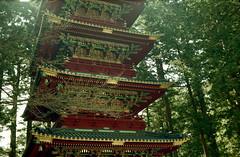 pagoda (too tall for this camera) (troutfactory) Tags: 2001 tower film japan pagoda shrine archive 日本 analogue nikko ornate decorated 日光 塔 nikkotoshogu 日光東照宮 kodaksignet fujihq200