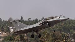 Landing - Armee de l'Air Dassault Rafale B (104-1C)  from 3/30 Lorraine escadron, SPA38 escadrille,  Al Dhafra AB, UAE (faram.k) Tags: india fighter aircraft military jet 328 combat karnataka dassault bengaluru 1041c rafaleb spa38 330lorraine aeroindia2015