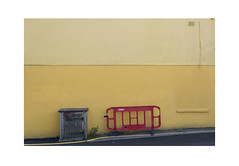 Red Barrier Yellow Wall (Pictures from the Ghost Garden) Tags: nikon d7100 dslr 18105mm unitedkingdom uk wales cardigan aberteifi ceredigion urban landscape urbanlandscape street red yellow barriers walls wall barrier