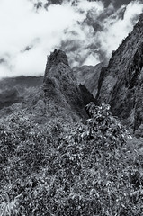 Lao Needle - BW (rschnaible) Tags: lao valley maui hawaii pacific tropics tropical sightseeing outdoors tour hike landscape rugged mountains needle bw black white photography monotone cliffs
