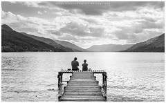 Enjoy the View.. (LoneWolfA7ii) Tags: jetty loch earn sony a7ii scotland water people view hills sky clouds bw monochrome blackandwhite black white sun art light
