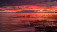 a beautiful sunset (Sribha Jain) Tags: longexposure hawaii evening us rocks waves pacific maui makena