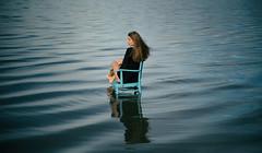 Wait and Sea (fehlfarben_bine) Tags: lake berlin woman portrait sunlight nikond800 240700mmf28 reflection chair morning waiting sea landing fac