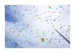 Frederiksbjerg Skole. Aarhus, Denmark (2016) (csinnbeck) Tags: balloon balloons ballon colors colours colorful colourful sky pole himmel balloner ricoh ricohgr gr 28mm 2016 august denmark aarhus aarhusc frederiksbjerg skole school celebration celebrating air clouds blue up upwards outside rhus 8000 dk