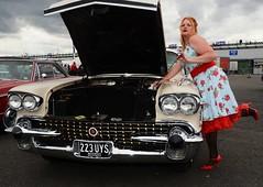 Ange L'Que_8828 (Fast an' Bulbous) Tags: car vehicle american classic oldtimer girl woman milf mature dress stockings nylons high heels stilettos sexy chick babe nikon d7100 gimp santa pod england