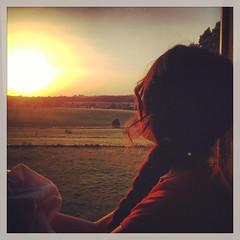 Watching the sunset (Lymf) Tags: sunset woman side country fields belgi