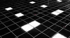 red light district (Mr.  Mark) Tags: light red bw white abstract black lines square photo pattern floor upsidedown geometry stock ceiling tiles checkers markboucher